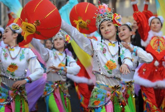 Chinese dancers take part in New Year celebrations.
