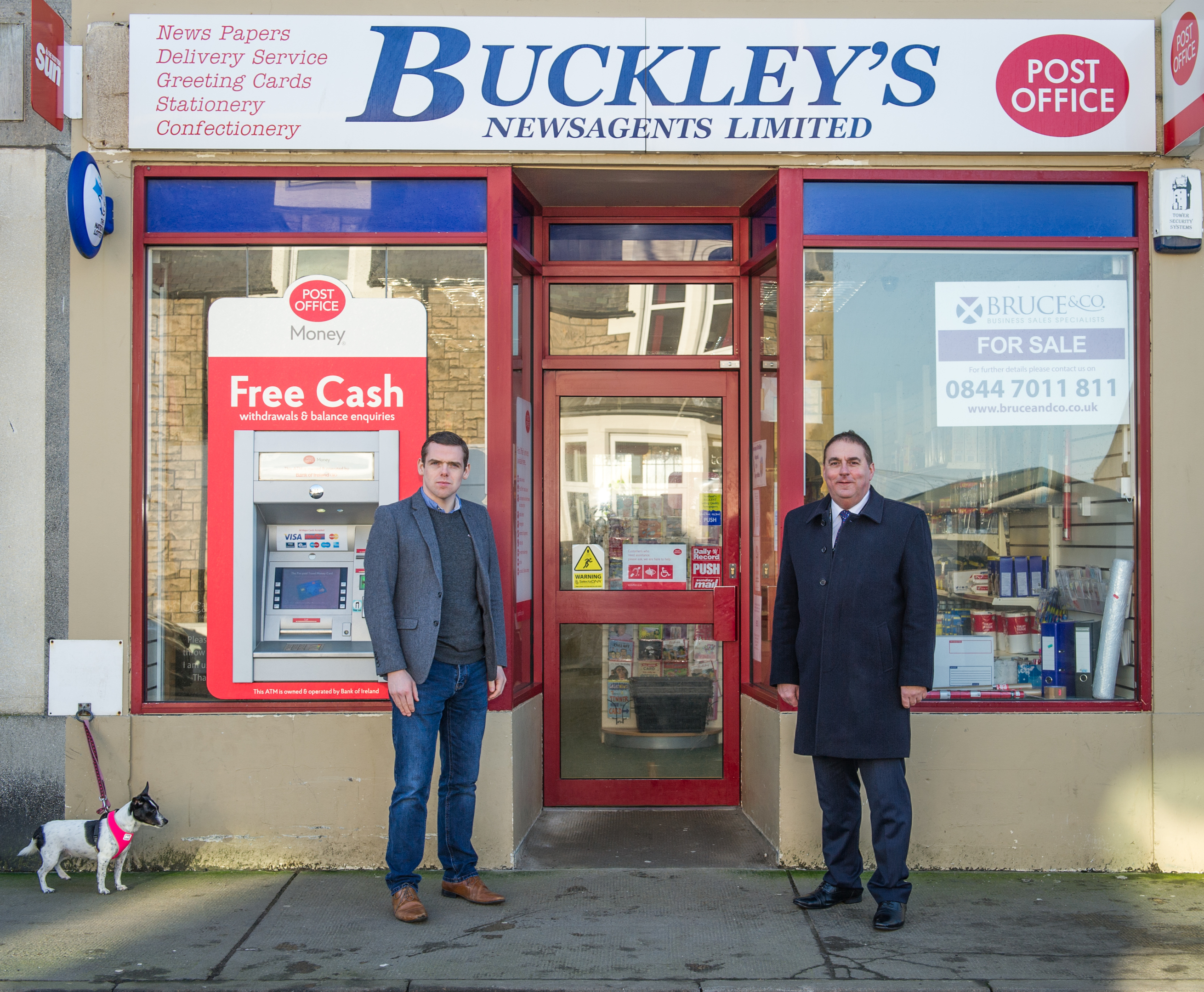 Pictures by JASON HEDGES Pictures show Douglas Ross ( MP) (Left) and James Allan (right) Heldon & Laich outside of the cash machine at Buckleys.