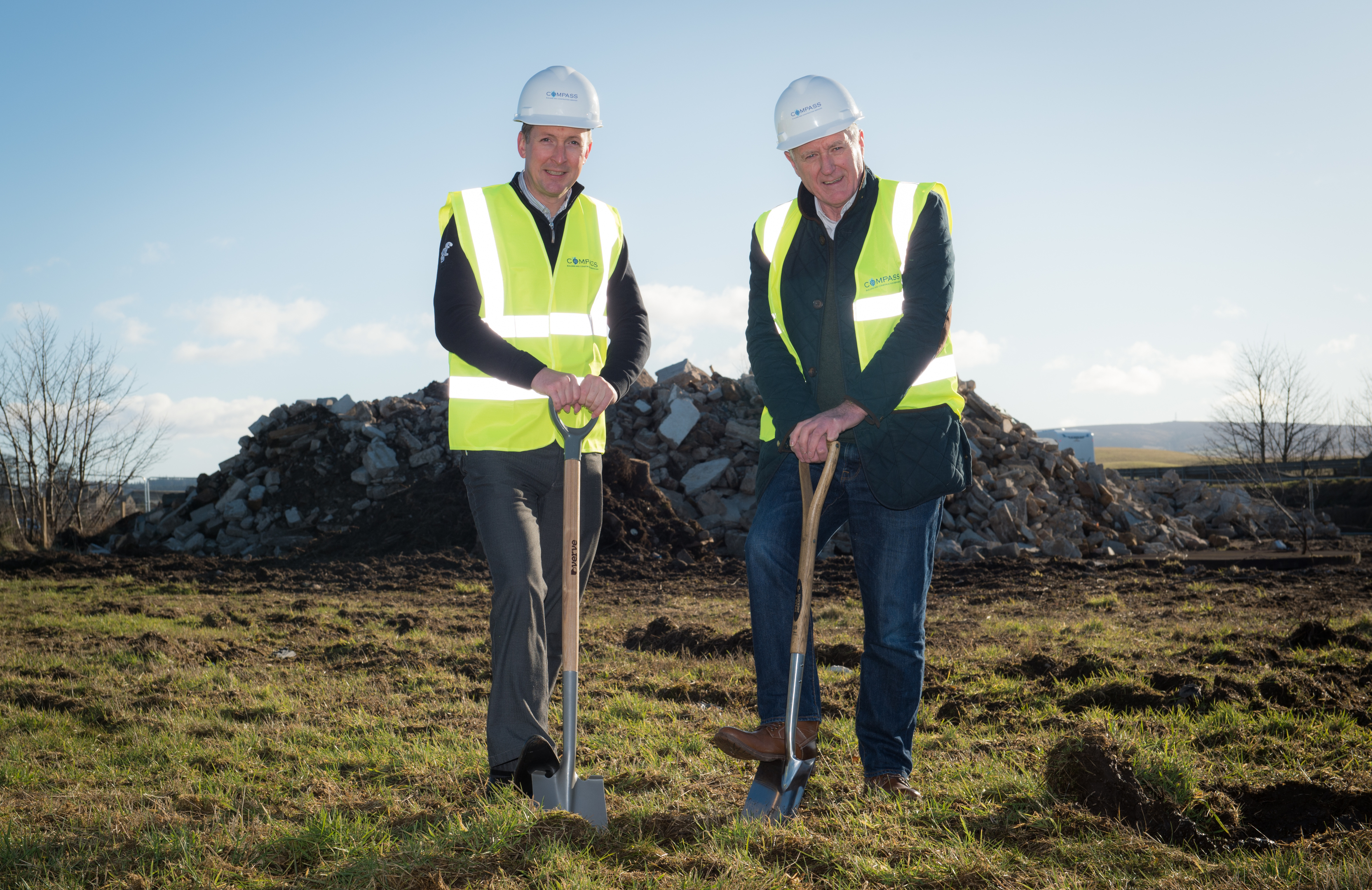 John Cowe (Right) Chairman of Moray Economic Partnership and Royce Clark (Left) MD of Grampian Furnishures Ltd at their new site next to the A96 in Elgin. Picture by Jason Hedges