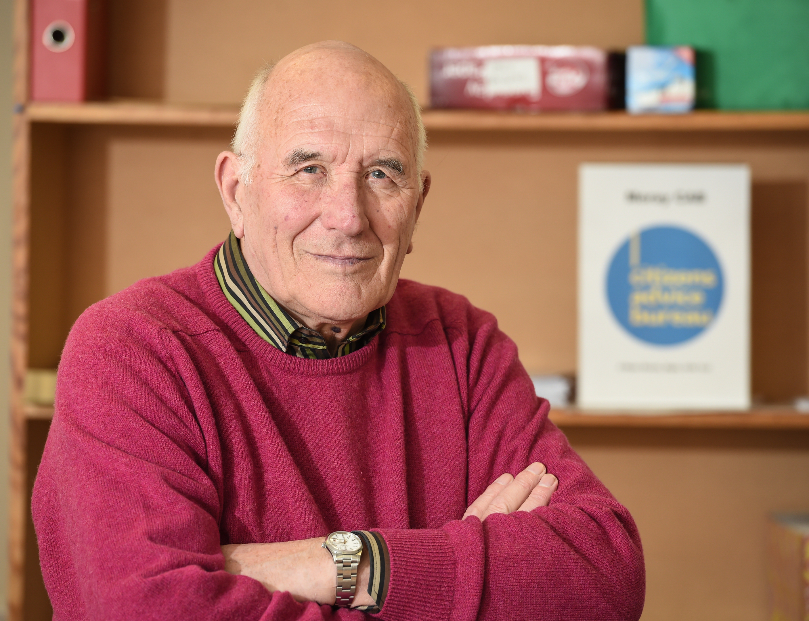 Mr Eddie Coutts, Chairman of Citizens Advice Bureau, Elgin, Moray inside the CAB offices