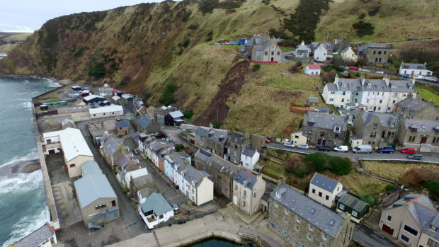 Gardenstown New Church and Harbour Road in Gardenstown have frequently closed following landslips. Picture by Kenny Elrick