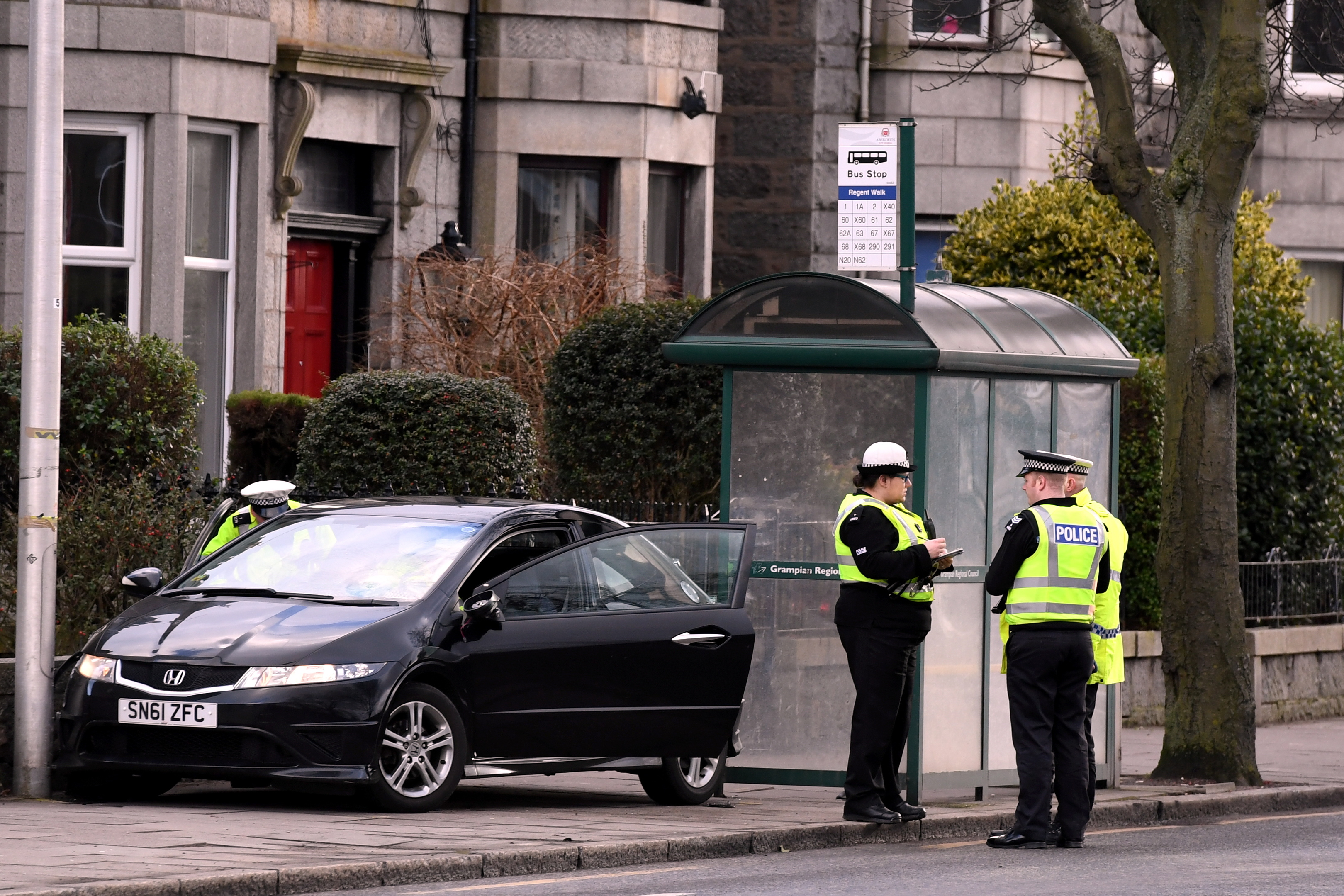 Police on the scene in King Street, near Aberdeen University.    Picture by Kami Thomson.