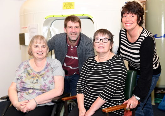 Pictured at the MS Therapy Centre are Evelyn Watt, Scott McKenzie and Lesley McDonald. who are all travelling to Mexico for HSCT (Hematopoietic Stem Cell Therapy). Also pictured is Pam Barclay (far right) who has previously had the treatment.    Picture by Kami Thomson.