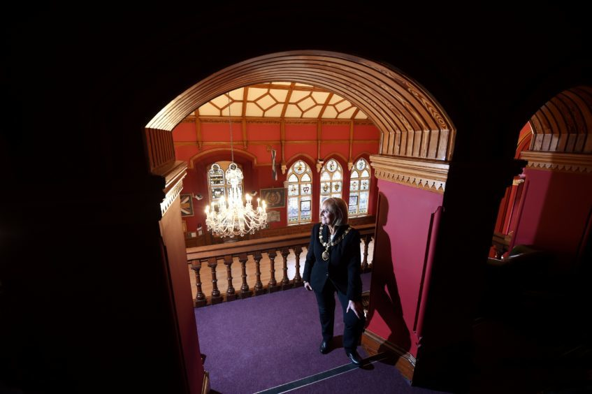 Provost Helen Carmichael in the Minstrels Gallery which overlooks the main hall of the Town House.