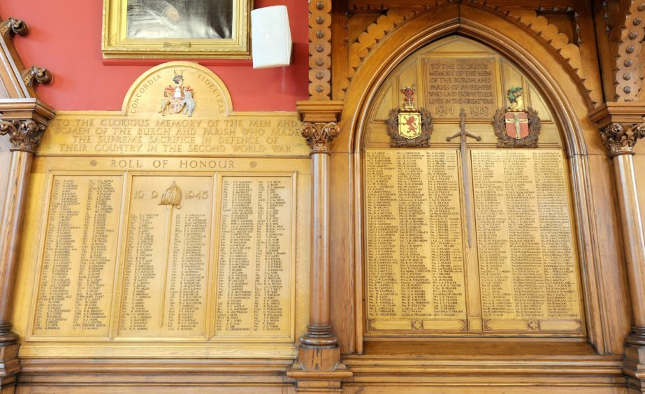 Part of the roll of honour from the two World Wars.