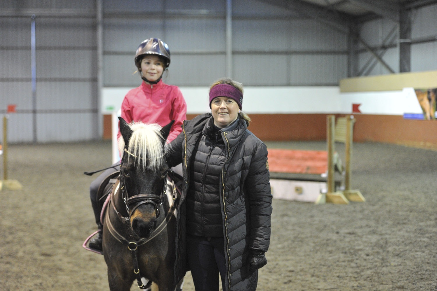 Pippa Funnell, on the right, with Millie Lawson and Dakota who took part in the demonstration.