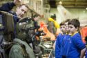 Pupils from Aberlour Primary School learn about technological advances since World War I.
