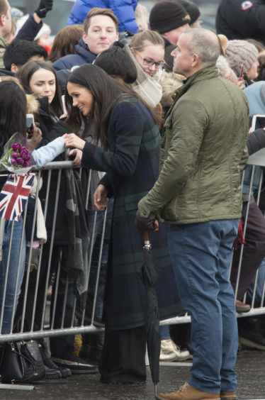 Meghan Markle during a walkabout on the esplanade at Edinburgh Castle