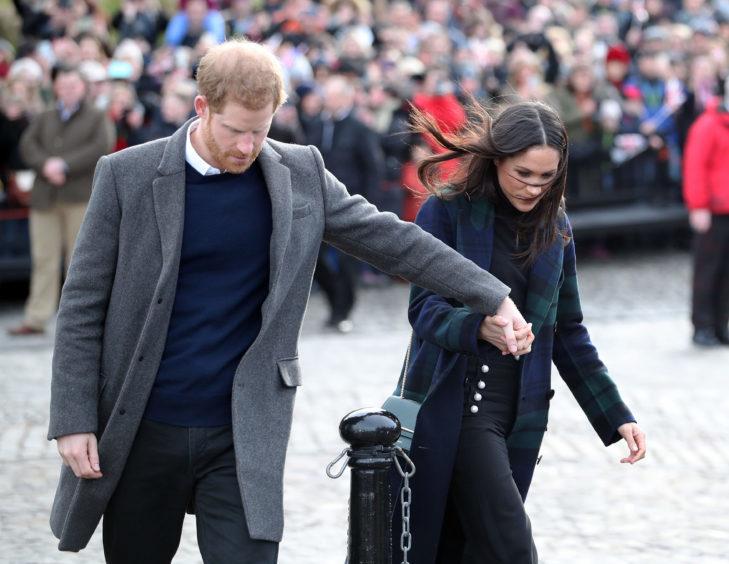 Prince Harry and Meghan Markle at Edinburgh Castle