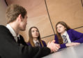 Speyside High School pupils Thomas Cattanach, Rachael Laing and Louise Knight  discuss mental health.