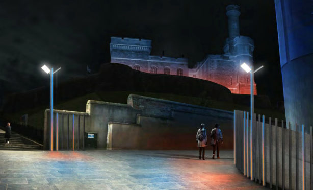 Artist impression showing lighting around the Castle in Inverness.