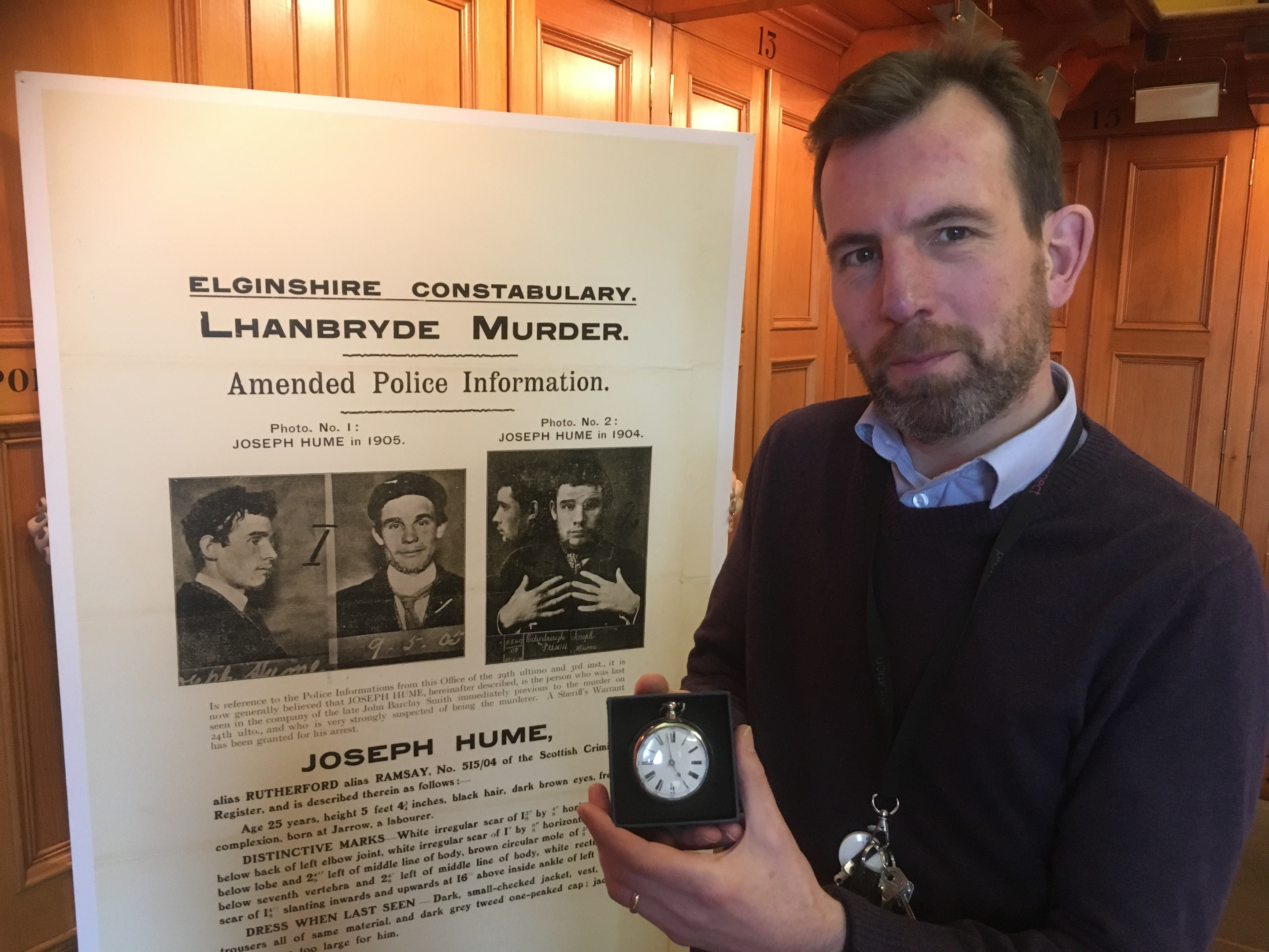 Phil Astley with the watch which was at the centre of a 1907 murder