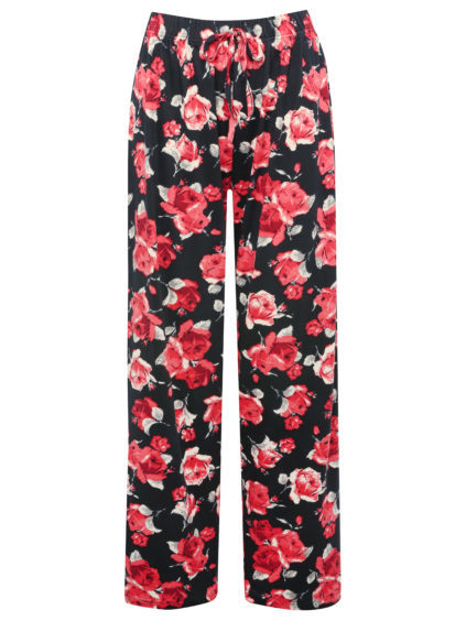 Ladies can cosy up in M&Co's rose print lounge top and matching trousers, £16 each