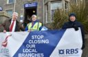 The RBS at Ellon Road, Bridge of Don - MSP Lewis Macdonald with Donna Clark and John McKay. Picture by Colin Rennie.