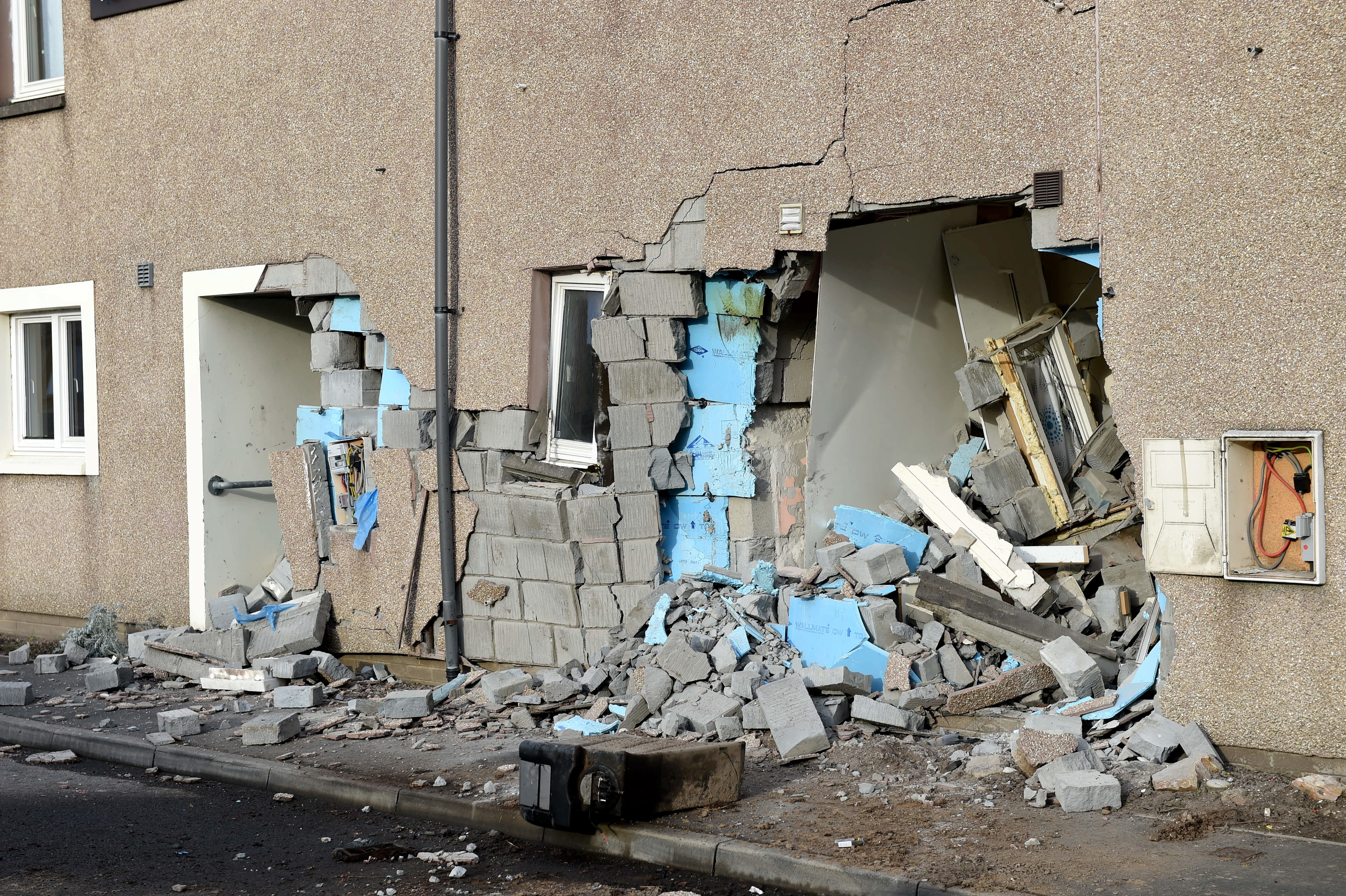 Pictured is the damage to a house on Land Street, Buckie after a vehicle believed to be a tractor or a digger crashed into a house. Picture by Darrell Benns.