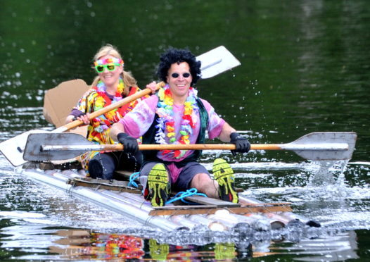 Raft Race in Port Elphinstone.  Pictured from left are Amanda and Richard Ingram. Picture by Heather Fowlie