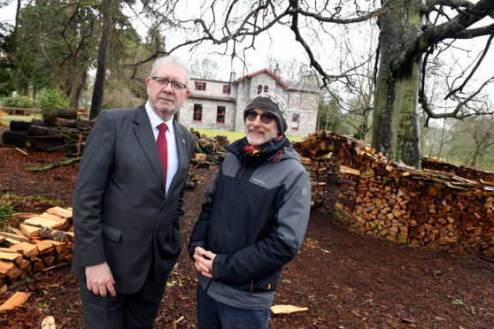 Brexit Minister Mike Russell MSP visited Camphill school, Milltimber, Aberdeen, which has a large percentage of non UK staff at the specialist school.    Pictured - Mike Russell MSP (left) at Camphill House with Camphill Executive Director Lawrence Alfred.     Picture by Kami Thomson    28-03-18