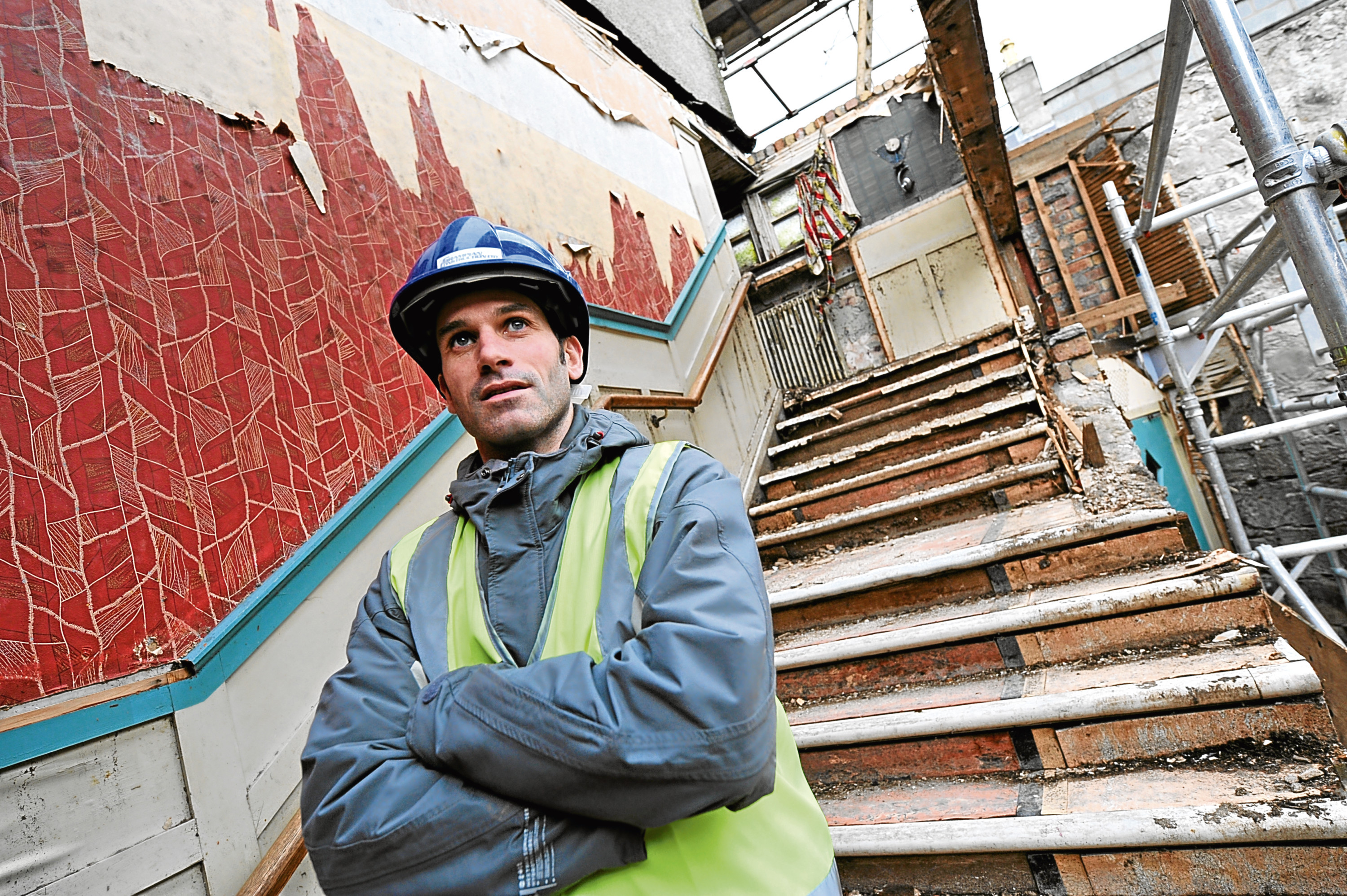 The Huntly cinema is being demolished to make way for two blocks of affordable homes.      Pictured - Kenny Riddoch Director with Grampian Construction at the cinema which his company are working on. Picture by KAMI THOMSON          .29-01-09
