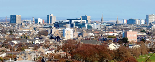 Stock - Aberdeen cityscape city scape view - looking from Bridge of Dee towards the city centre.  Picture by Simon Walton.