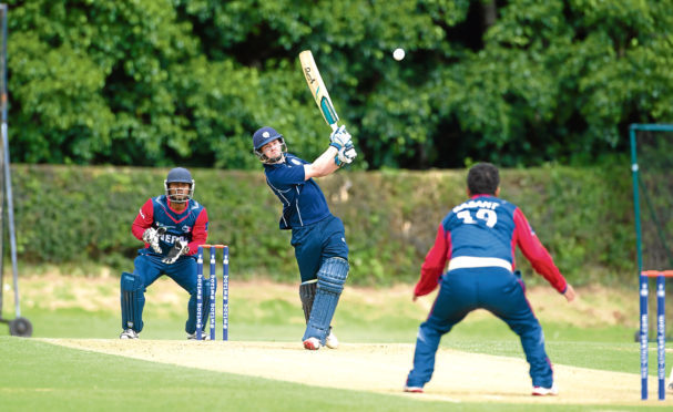 Batsman Matthew Cross during Scotland's ICC World Cricket League Championship tie with Nepal.
