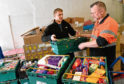 Feature on Community Food Iniitiatives North East, Poynernook Road, Aberdeen.      Pictured - Cfine volunteers Dave Walls (left) and Donald Ross.