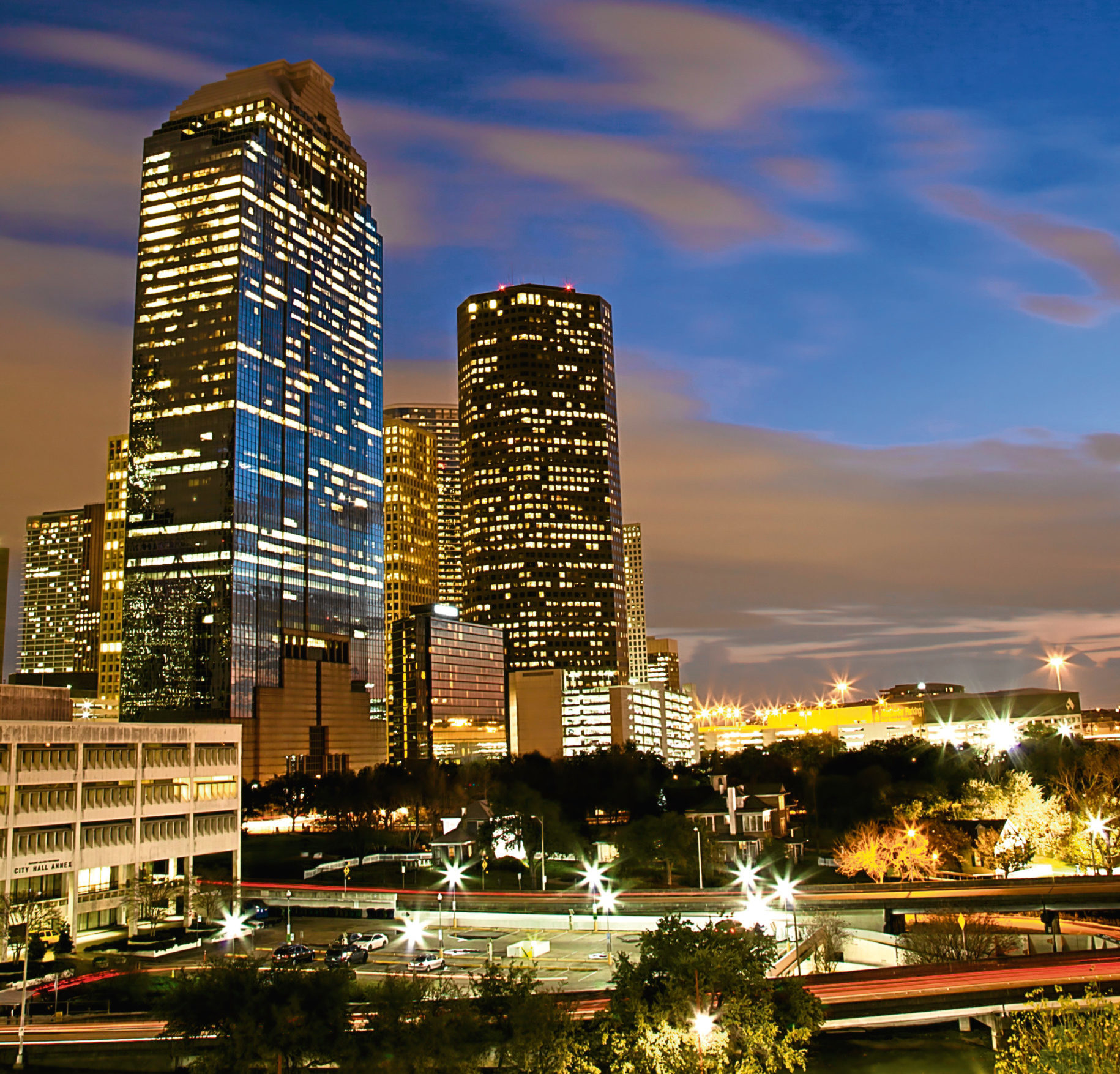 """Houston  """"Downtown Houston, Texas, by night in winter, when the offices's lights are just on."""""""