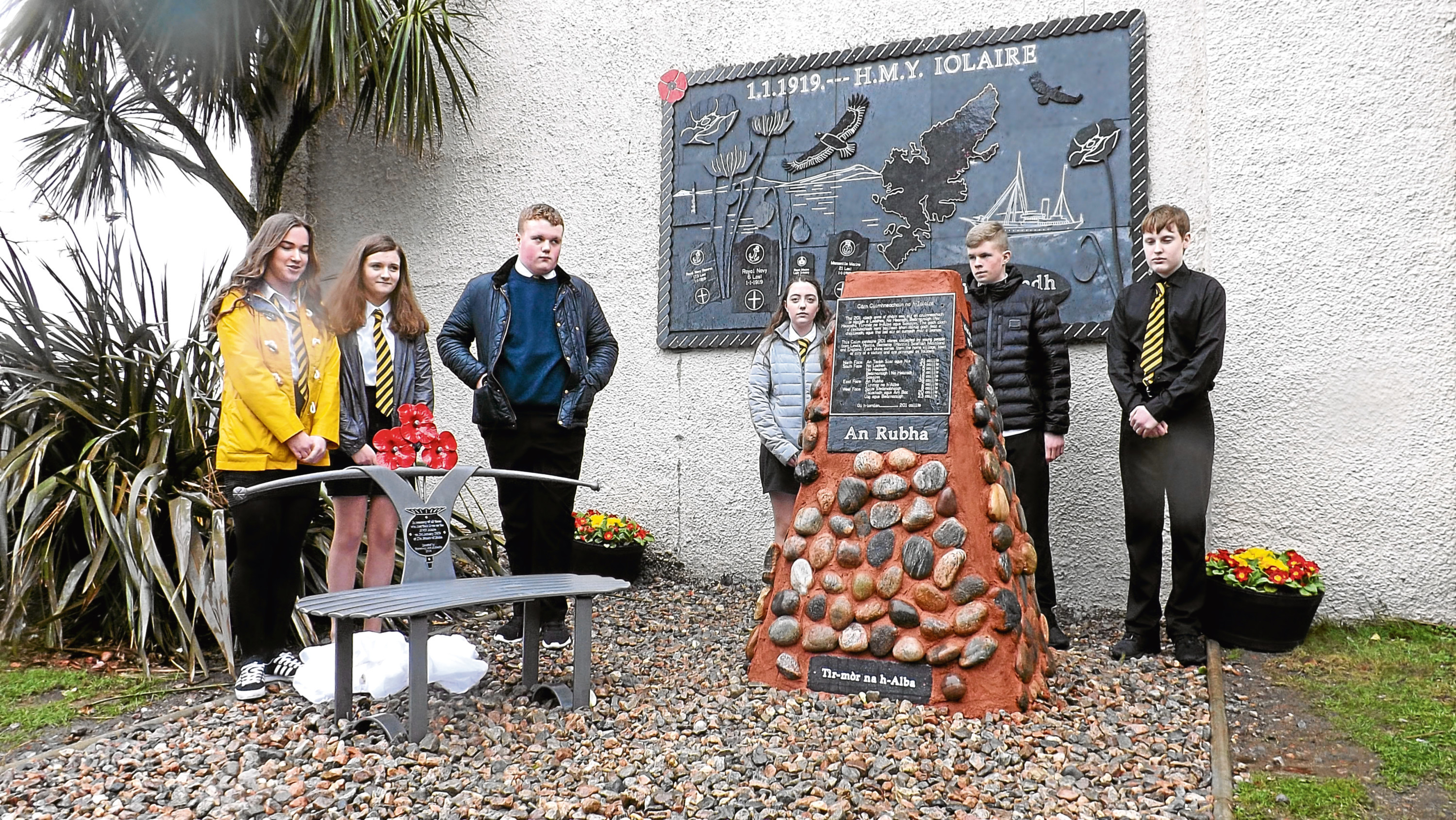 FROM MIKE MERRITT 07774637768. Unveilling of the memorial cairn.  It is a poignant tribute to one of Scotland's most heartbreaking losses of life.   Stones have been collected from the home village of each of the 201 sailors lost on the infamous Iolaire naval tragedy and will be incorporated into a unique memorial on the Isle of Lewis unveiled today