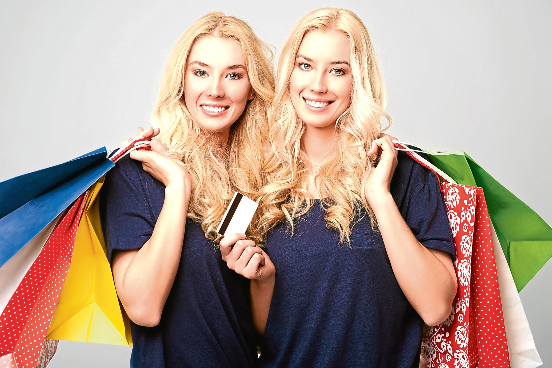 Beautiful twins after big shopping