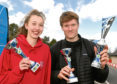 The Run Garioch race day at Inverurie. In the picture are hannah Mutch, 5K winner and Callum Symmons, 5K and 10K winner.