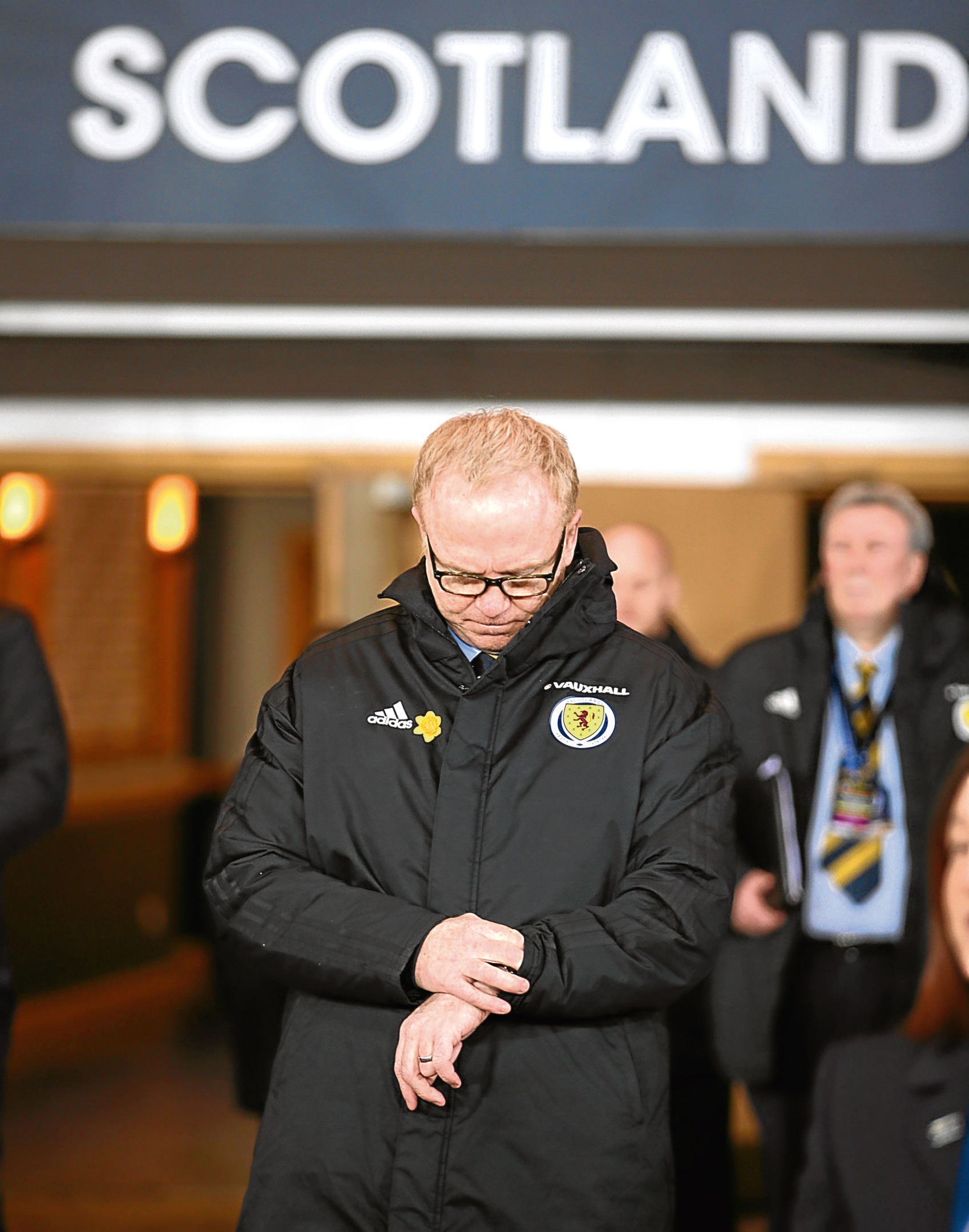 Scotland manager Alex McLeish checks his watch before the international friendly match at Hampden Park, Glasgow. PRESS ASSOCIATION Photo. Picture date: Friday March 23, 2018. See PA story SOCCER Scotland. Photo credit should read: Jane Barlow/PA Wire. RESTRICTIONS: Use subject to restrictions. Editorial use only. Commercial use only with prior written consent of the Scottish FA.