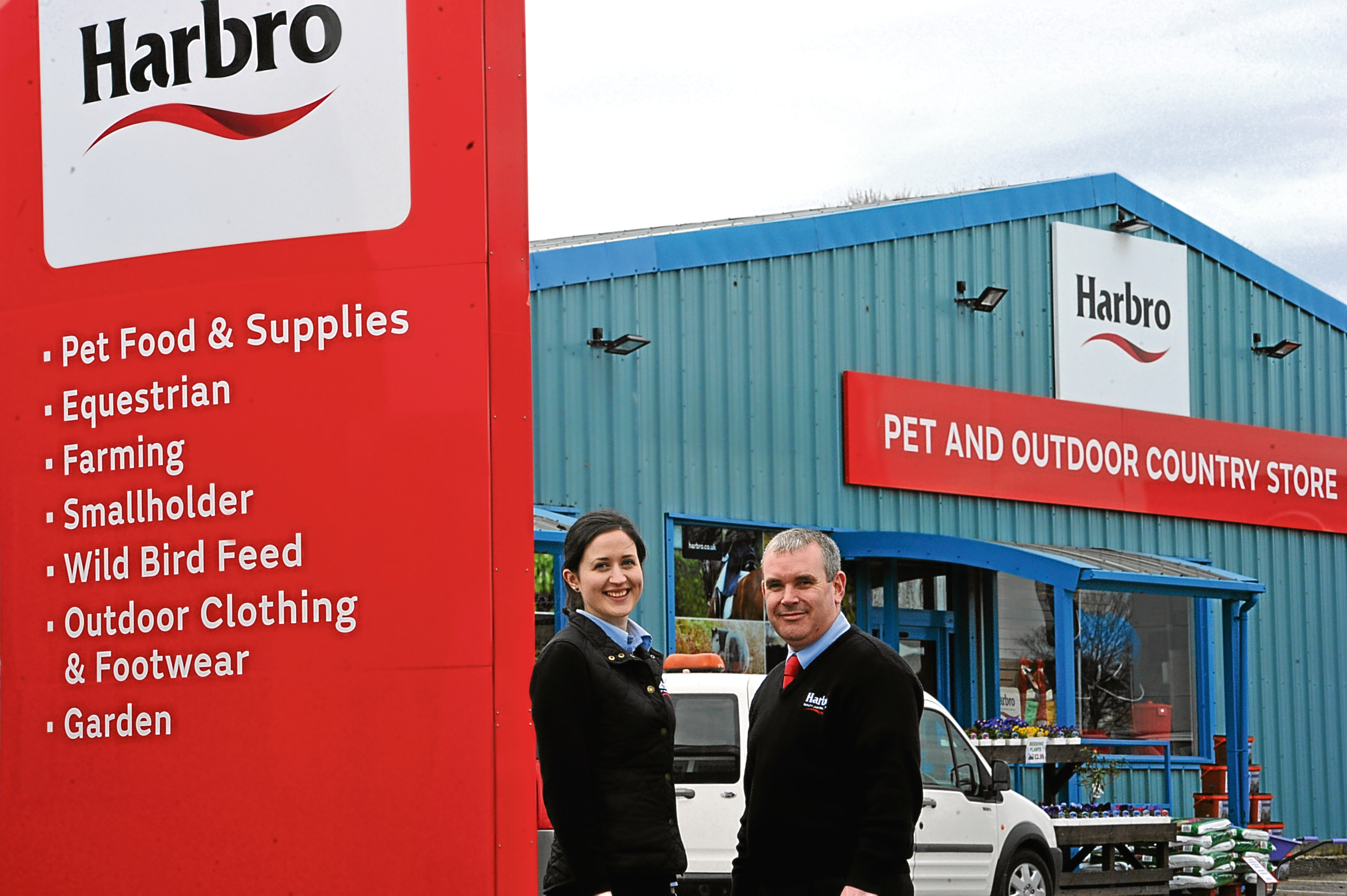 Elizabeth Patterson, store sales manager and John Allison, retail support manager, at the Harbro Elgin store.