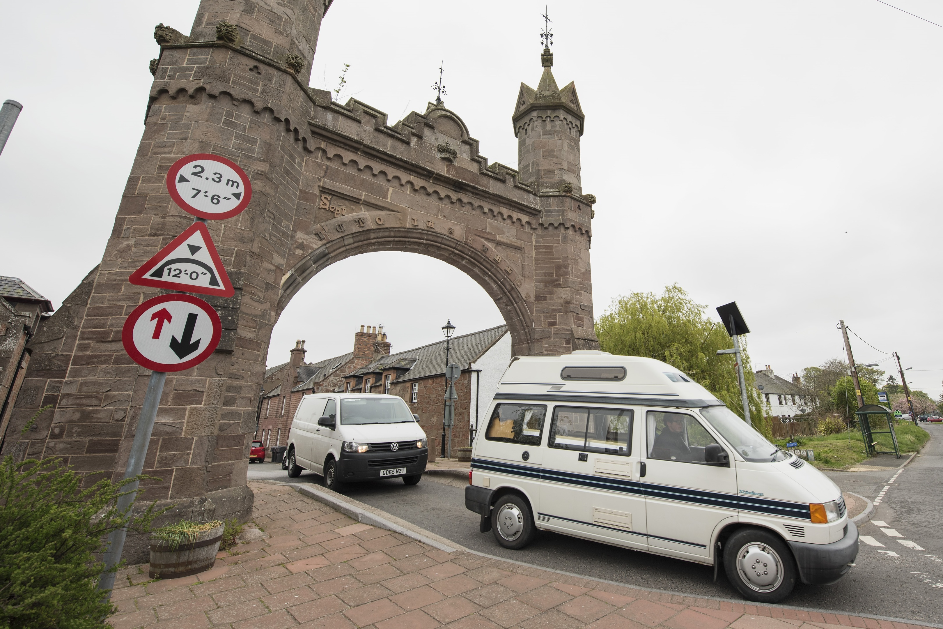 20170512- Fettercairn Arch Locals bemoan traffic calming measures at the arch which have ruined business in the village.   © Andy Thompson Photography / ATIMAGES   No use without payment.