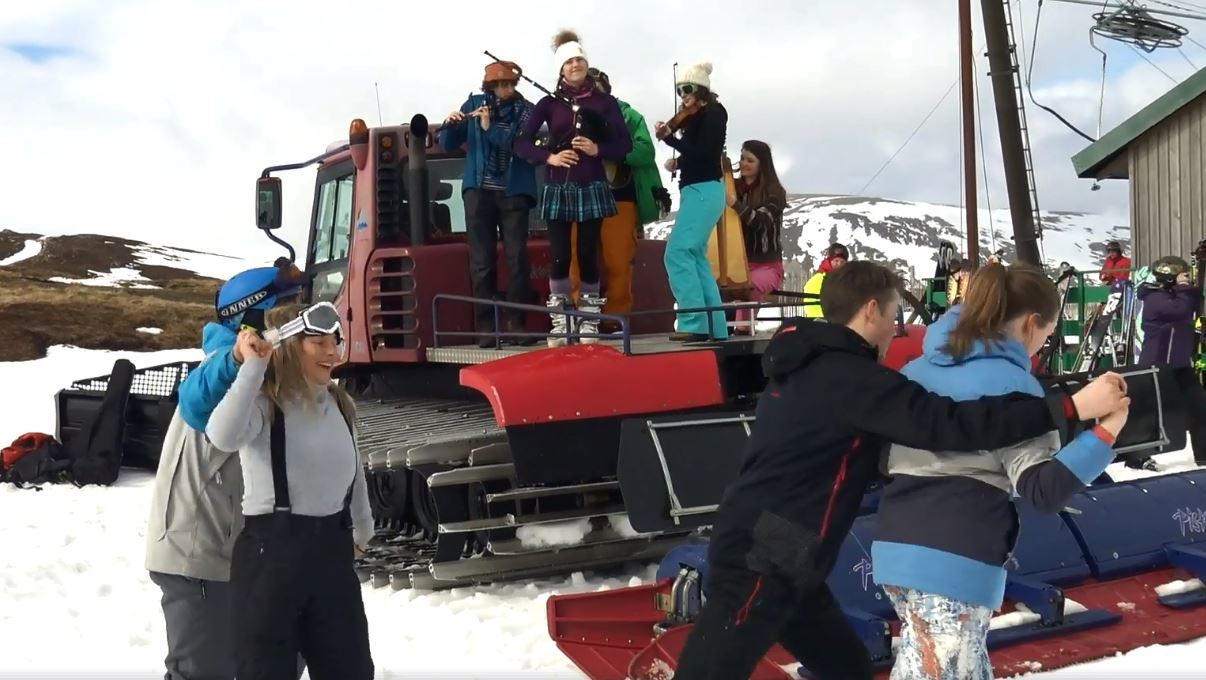 Great fun at Glenshee Ski Centre today as organisers brought a Ceilidh band high onto the mountains and had skiers dancing on the slopes.