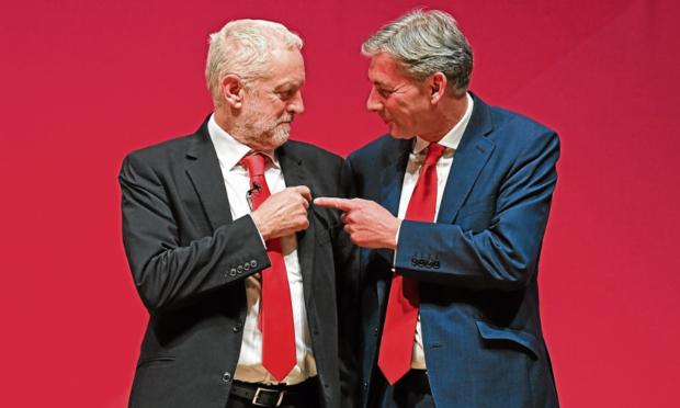 Jeremy Corbyn, left, and Scottish Labour leader Richard Leonard.