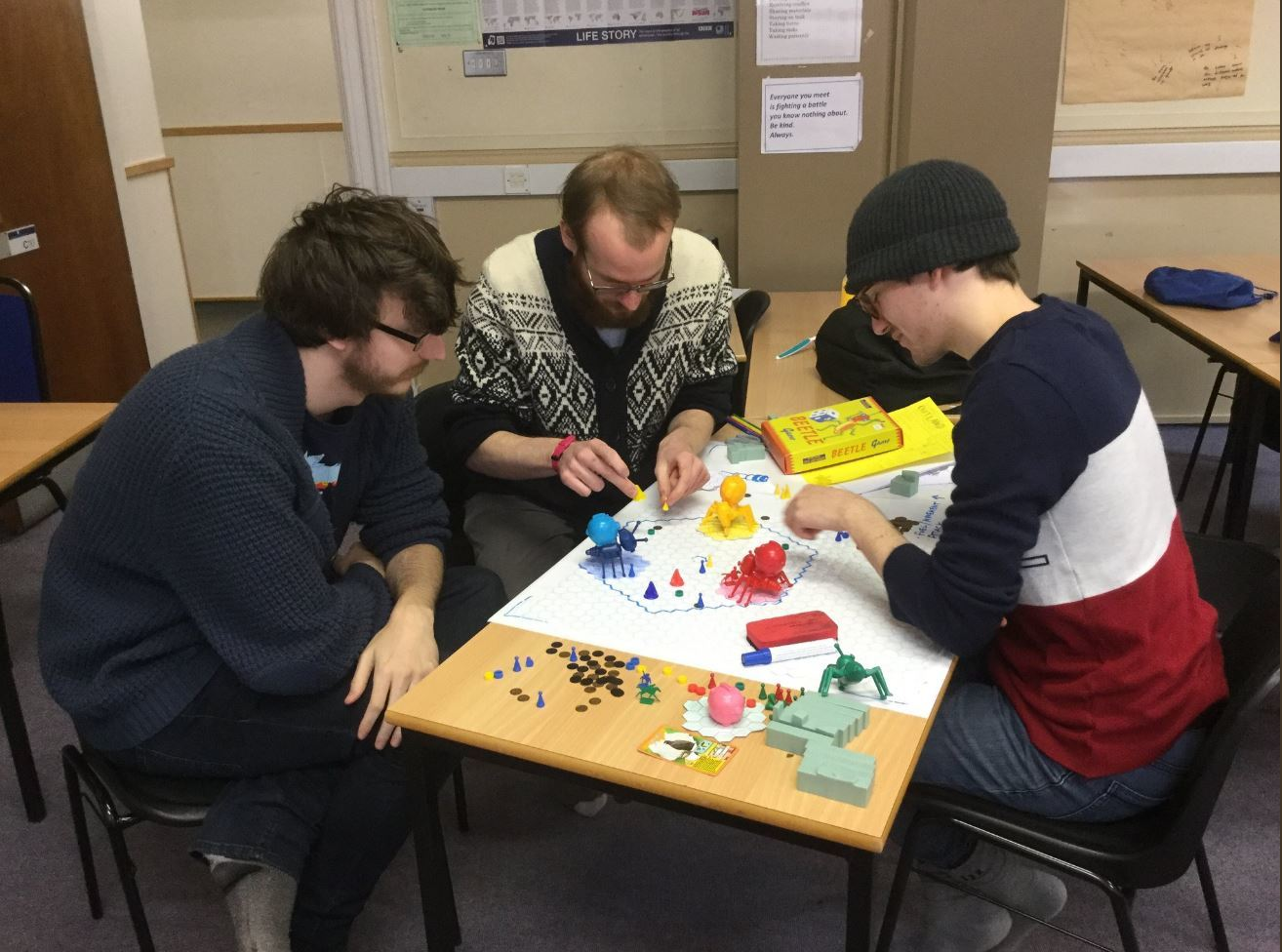 Artists and game designers participating in the 2018 Moray Game Jam at Moray College.