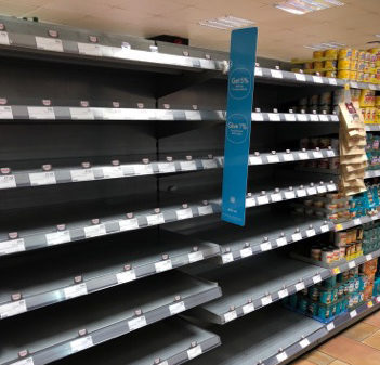 Empty shelves at Co-op on Union Street, Aberdeen.