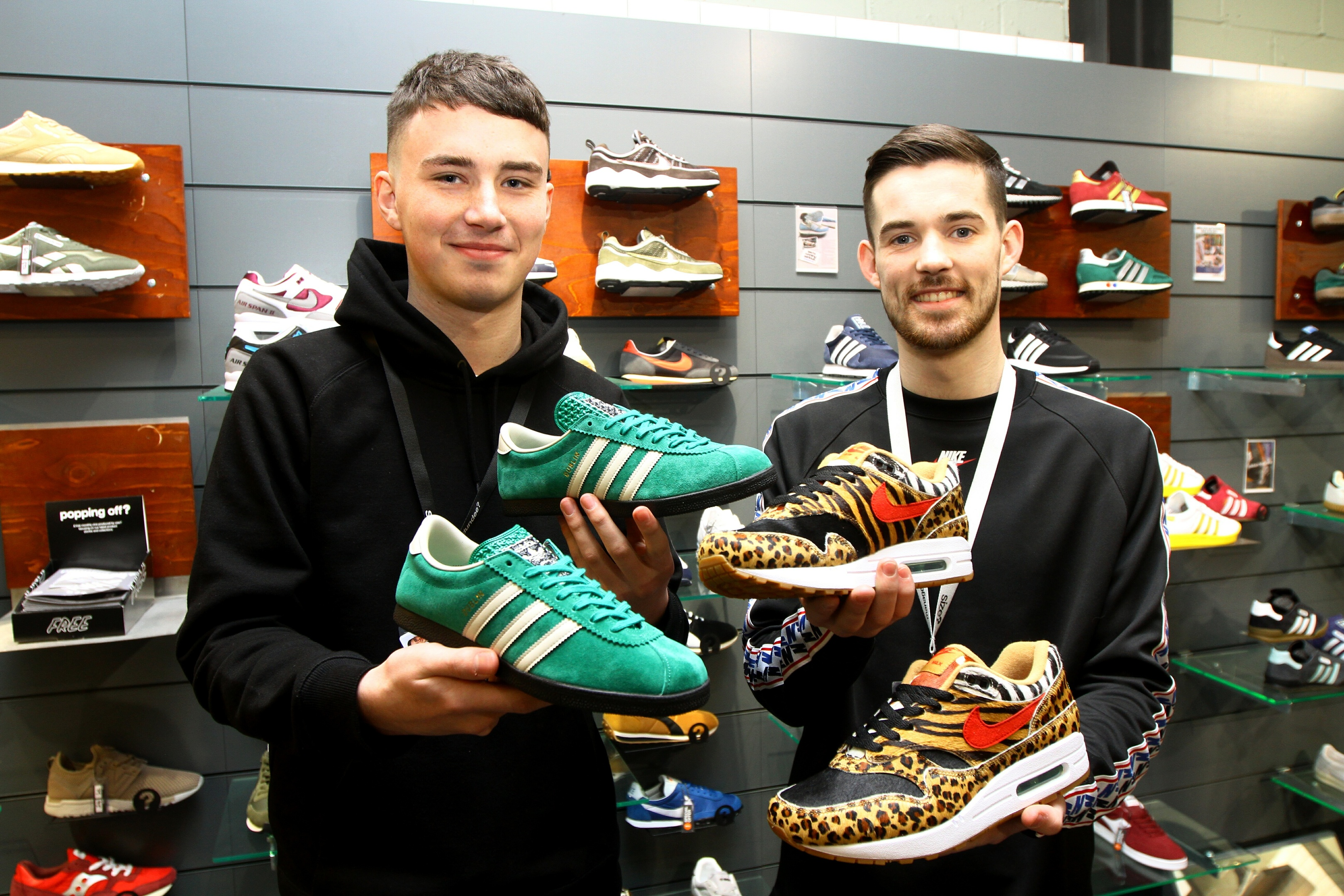 With the limited edition trainers Lloyd Morrison, left, holding the Adidas Dublin trainers, and Chris Brash holding the Nike Atmos Safaris, in Size in Dundee.