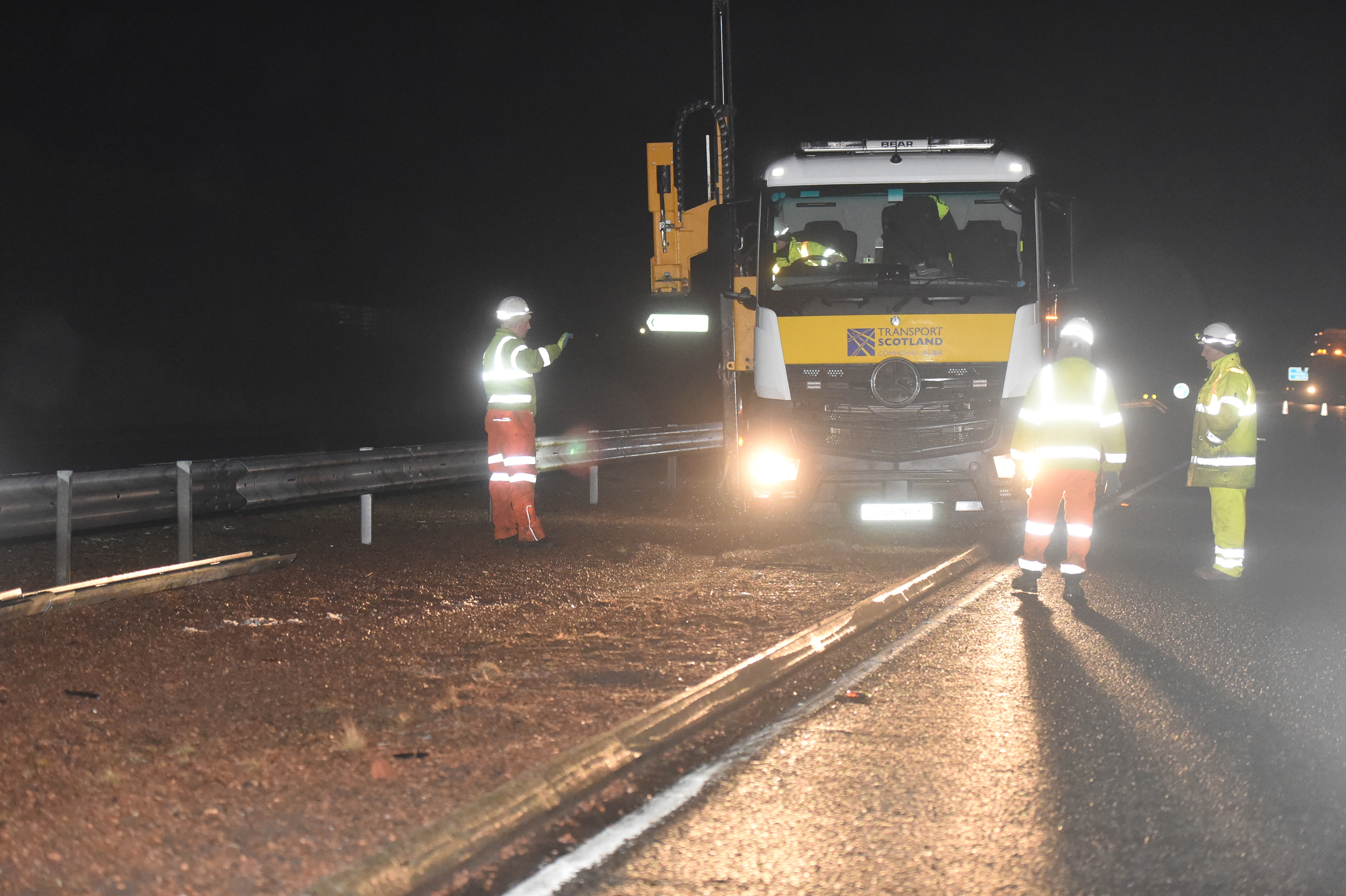 Emergency repairs were carried out last night to deal with the crater on the A90 near Laurencekirk which damaged many vehicles. Picture by Heather Fowlie.
