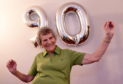 Zumba fan, Isobel Stuart, Aberdeen, celebrates her 90th birthday.  Picture by Jim Irvine.