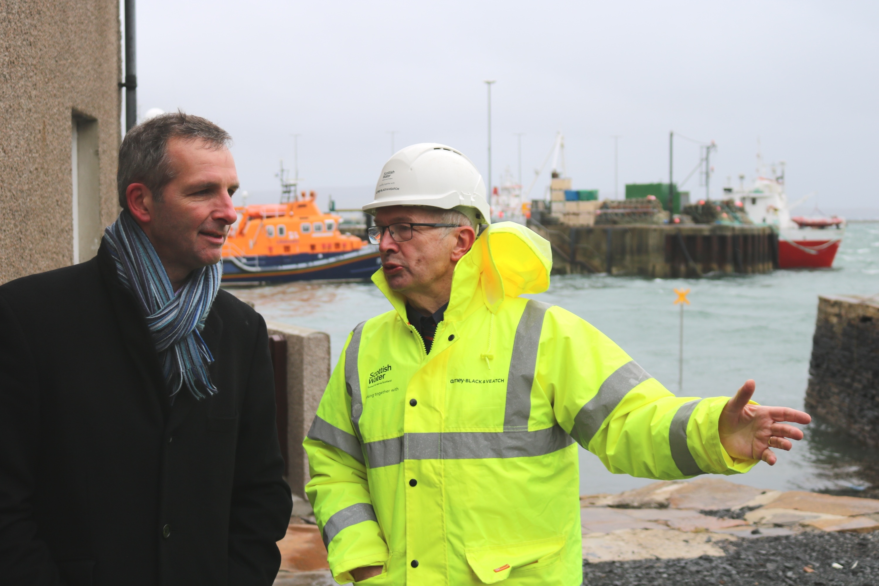 Liam McArthur MSP and site manager Chris Wright