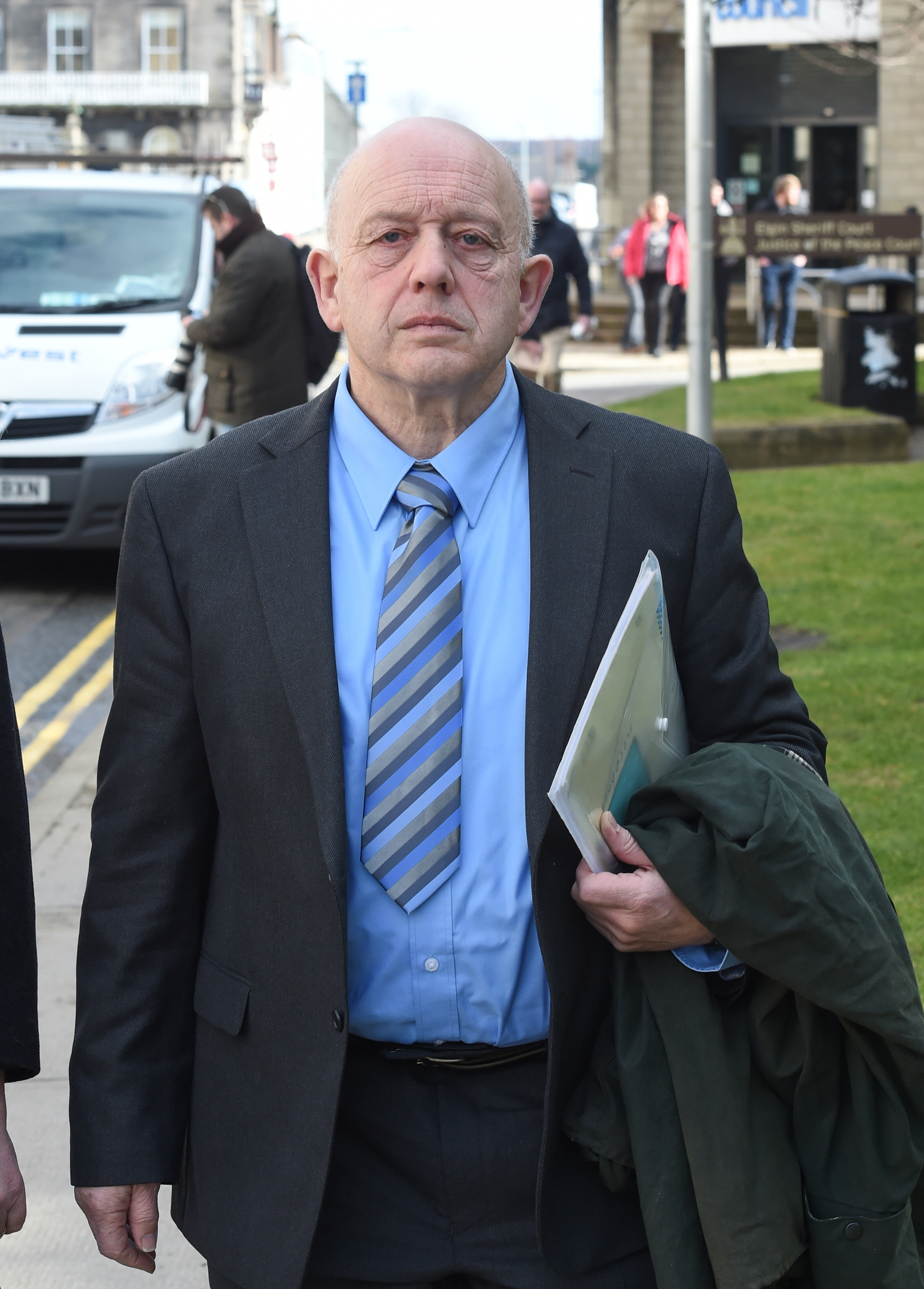 Andrew Keir arriving at Elgin Sheriff Court.