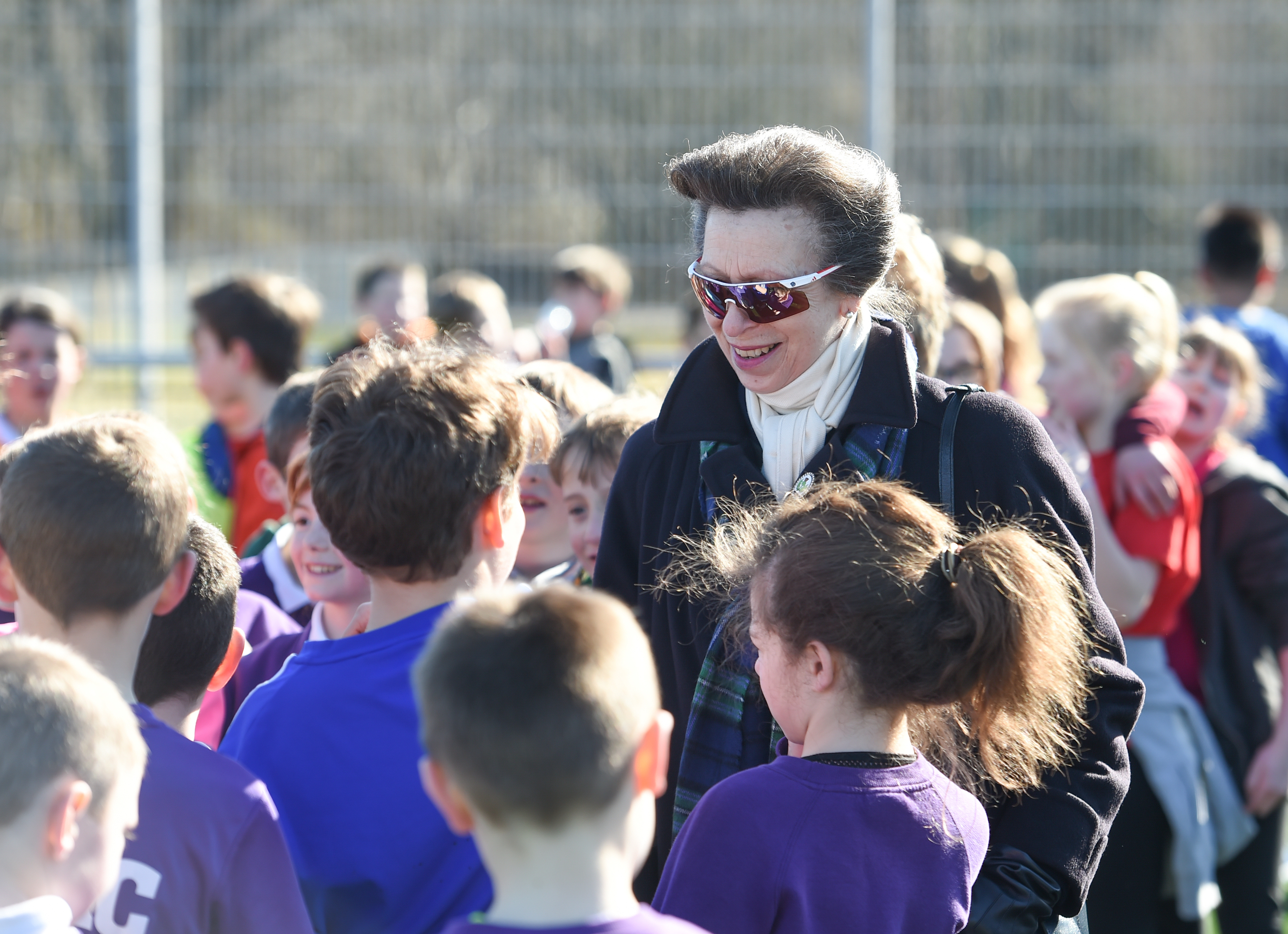HRH Princess Anne walking around the Highland Rugby Club as it is officially opened.  Picture by Jason Hedges.