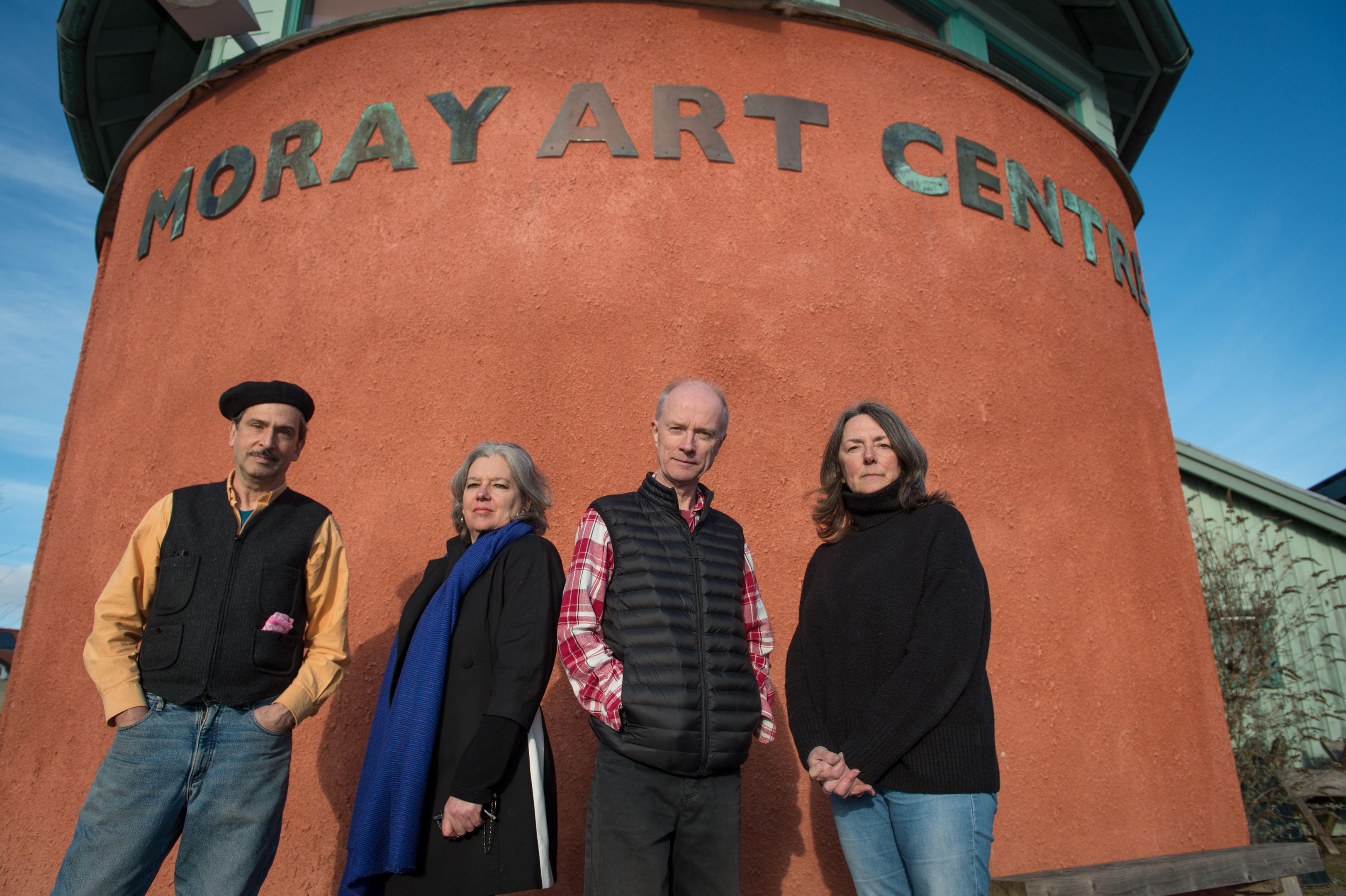 Left to right: Artist, Tutor & Founder Randy Klinger, artist, tutor and trustee Celia Forestal Smith, Water colour artist Jonathon Wheeler, and artist, trustee and teacherJulia Law outside of the Moray Art Centre, Findhorn. Picture by Jason Hedges.