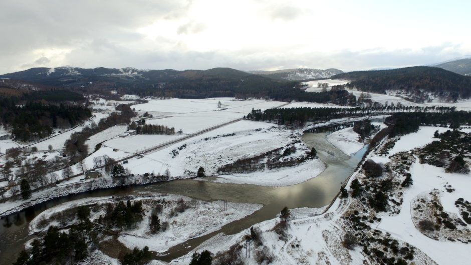 School closures across Aberdeenshire as snow from Beast from the East hits Scotland. Snow covering Ballater area.  Aerial Image - Drone / Phantom 3 advanced.  Picture by KENNY ELRICK     27/02/2018