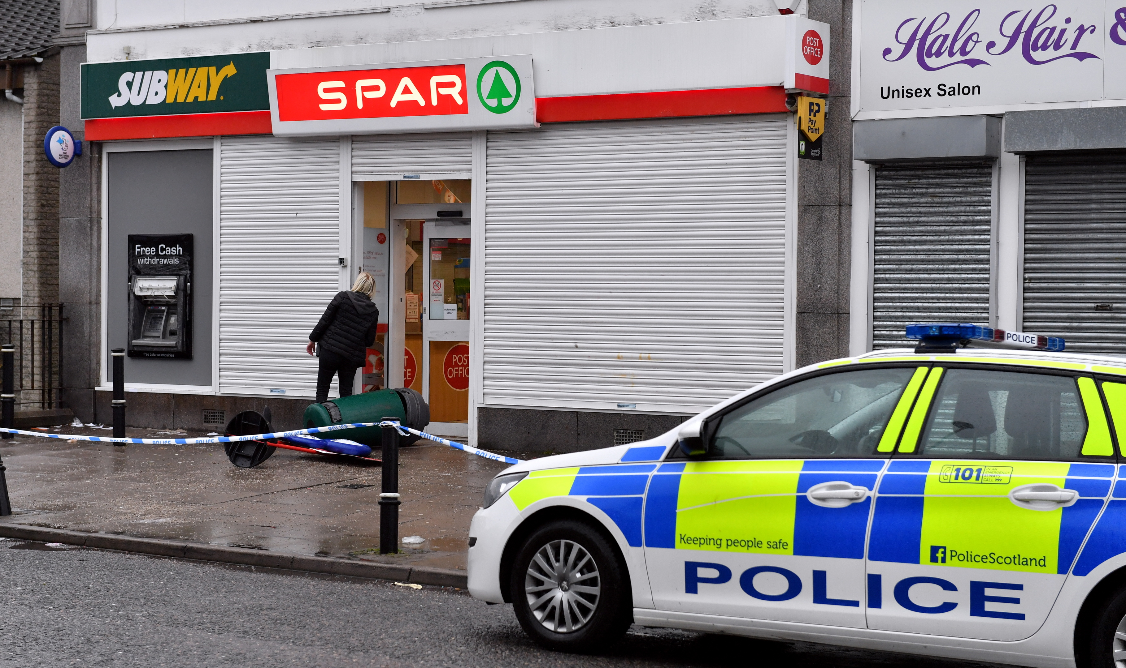 Police Scotland attend the scene of a robbery at the Spar on Clifton Road, Aberdeen.