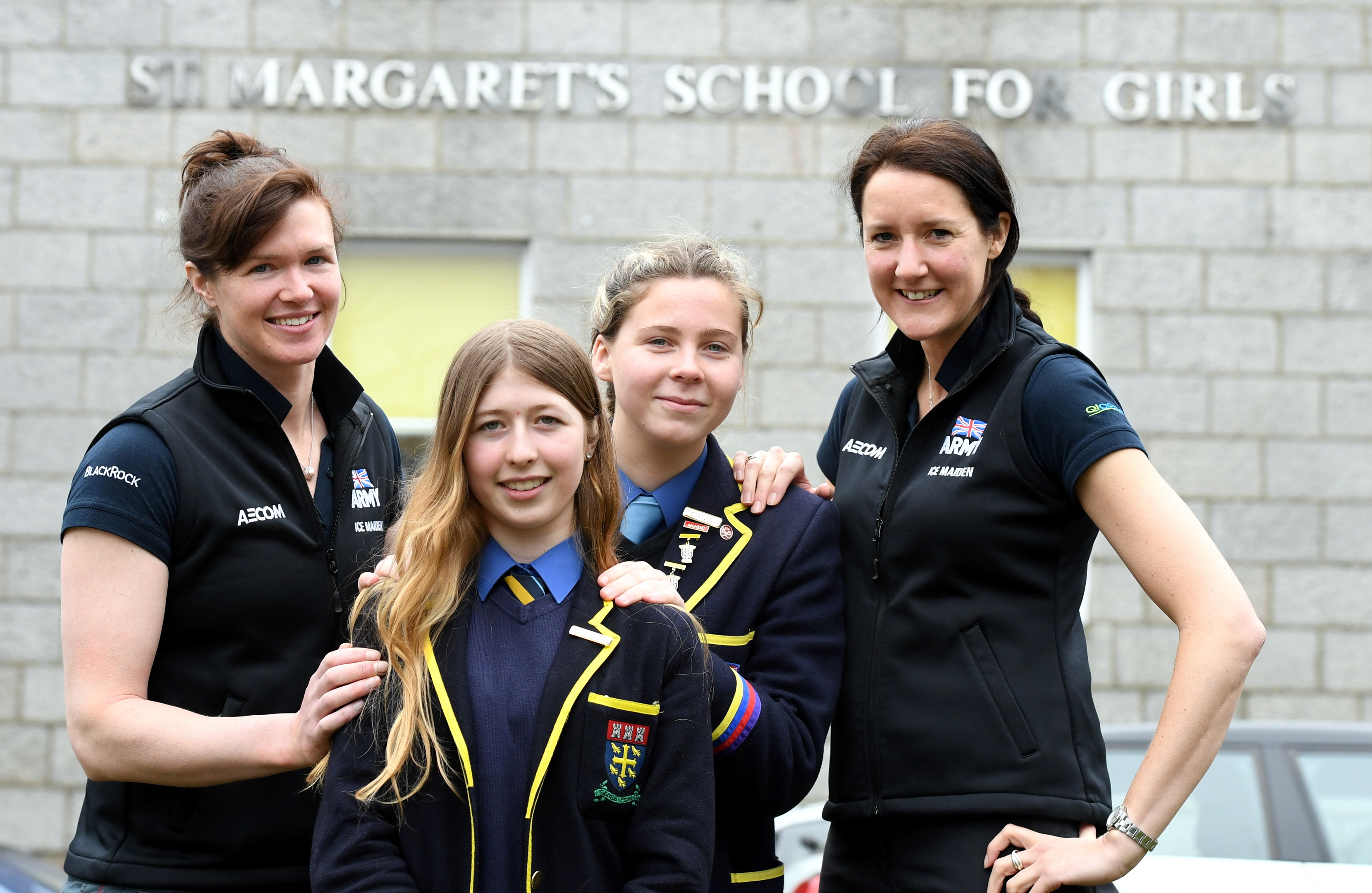 L-R Major Nics Wetherill, pupils Charley Hamilton, Abby Miller and Lance Sergeant Sophie Montagne.