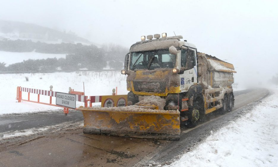 The snow gates on the A9 over the Ord of Caithness north of Helmsdale are kept closed after heavy drifting on the higher parts of the route - vehicles stuck between the two sets of gates were escorted out by snowplough.