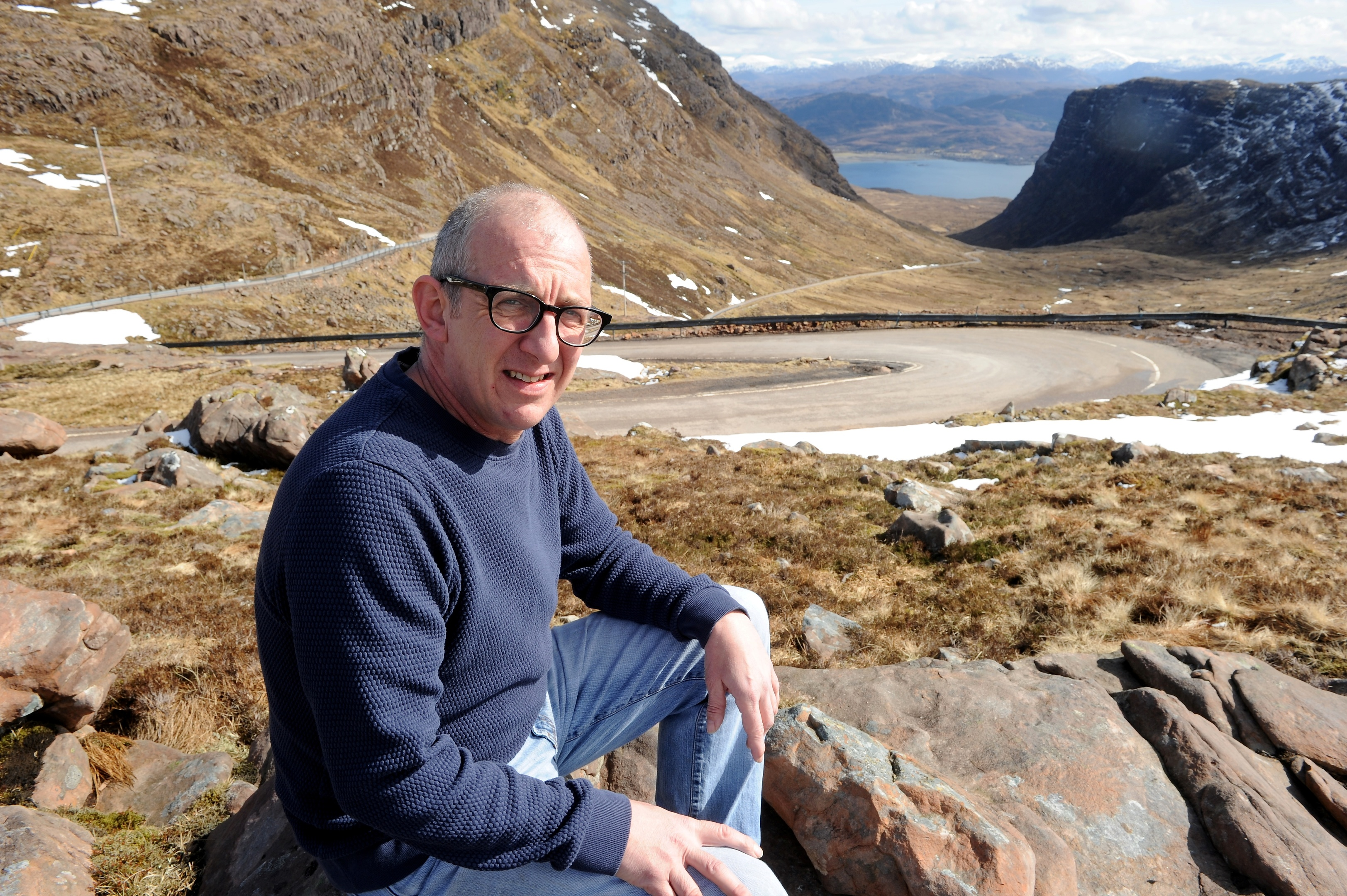 John Glovere, Chairman of the Applecross Community Council, at the summit of the Bealach nam Ba.