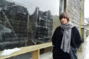 ARTIST ALICJA ROGALSKA  AT THE DISUSED SHOP IN DUFF STREET WHERE SHE WILL BE SETTING UP AN INSTALLATION FOR THE MACDUFF REVIVAL EVENT.