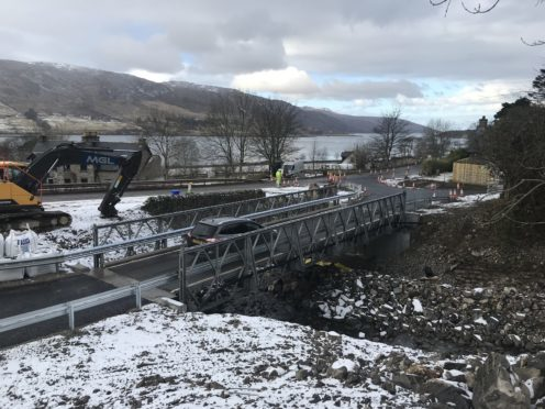 The temporary bridge has opened at Leckmelm.